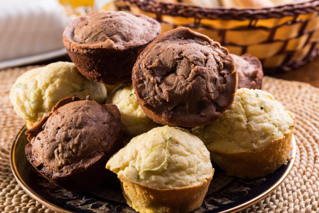 Chocolate zuchinni and cornbread zuchinni muffins